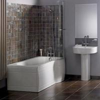 Bruine tegels in de badkamer voor op de vloer of muur.